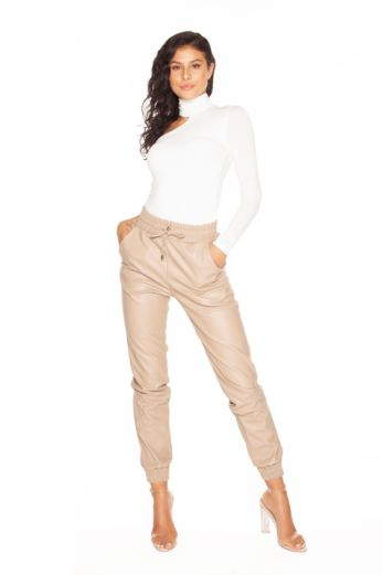 LA Sisters Faux Leather Jogging Pants Nude Front