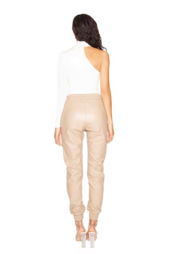 Faux Leather Jogging Pants Nude