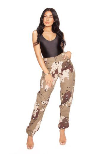 LA Sisters Camouflage Pants Beige Front
