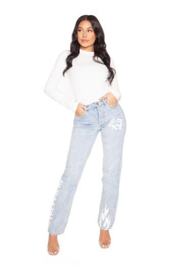 LA Sisters Graffiti Straight Leg Jeans Front