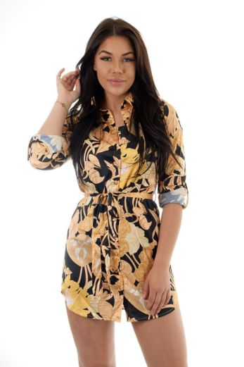 Floral Button Dress Yellow