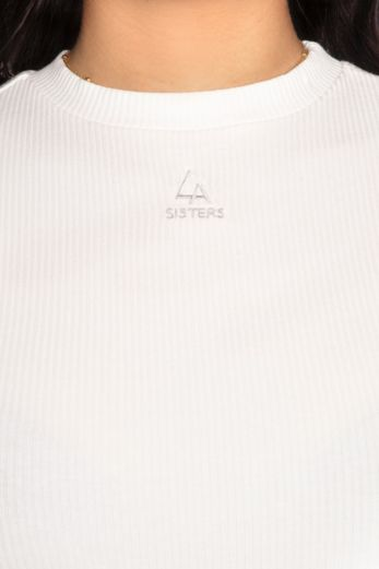 Ribbed Logo Long Sleeve Top White