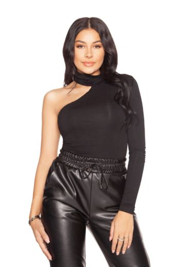 LA Sisters Off Shoulder Turtle Neck Bodysuit Black Front