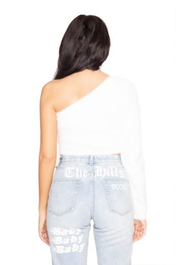 Fluffy Off Shoulder Crop Top White