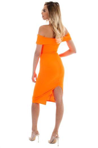 Aaliyah Bardot Bodycon Dress Orange