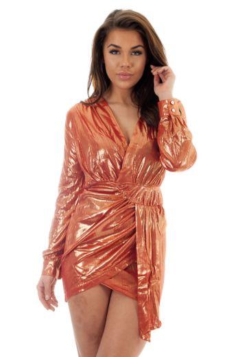 Yasmina Metallic Wrap Dress Coral Close Up Front