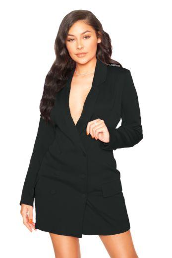 Satin Blazer Dress Black