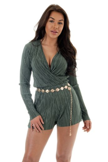 Selene Glam Playsuit Green