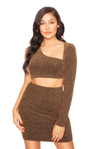 LA Sisters Glitter Cut Out Two Piece Gold Front
