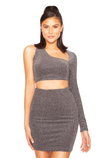 Glitter Cut Out Two Piece Silver