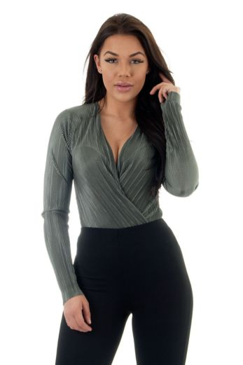 Eve Selene Glam Bodysuit Khaki Close
