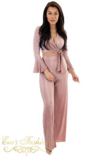 Selene Glam Front Tie Top Pink