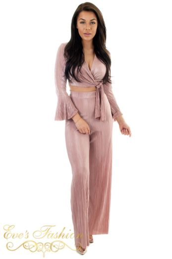 Eve Selene Glam Flare Pants Pink Front
