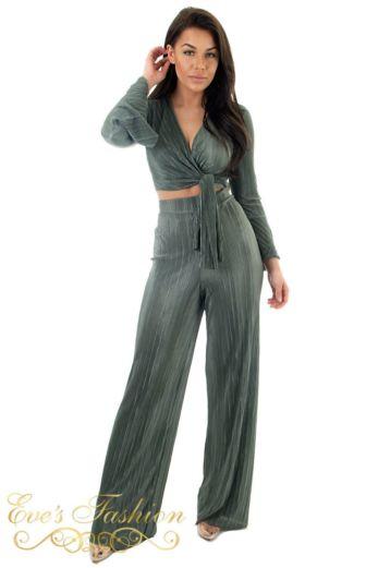 Selene Glam Flare Pants Khaki