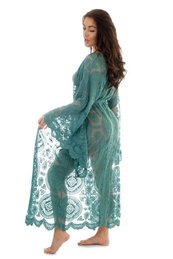 Luxury Lace Kimono Aqua