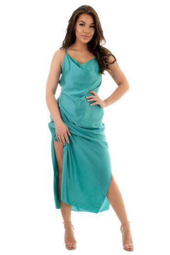 Eve Sabrina Satin Dress Champagne Front