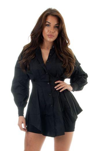 Eve Yaelin Bustier Blouse Dress Black Close