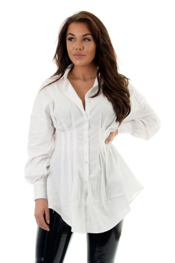 Eve Yaelin Bustier Blouse Dress White Close Front