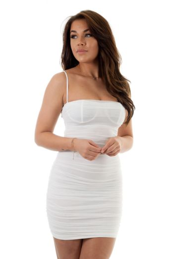 Eve Marilon Mesh Dress White Close