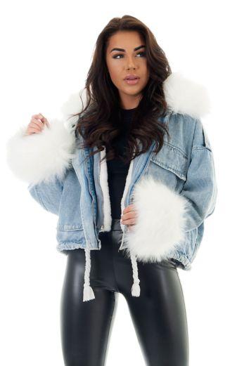 Eve Penelopy Denim Jacket Fur White Front