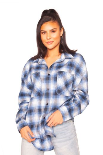LA Sisters Oversized Check Shirt Blue Front