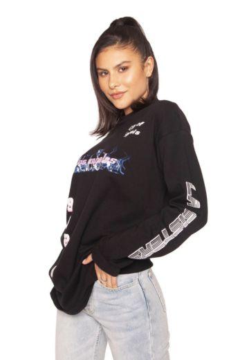LA Sisters Long Sleeve 90210 Black Front