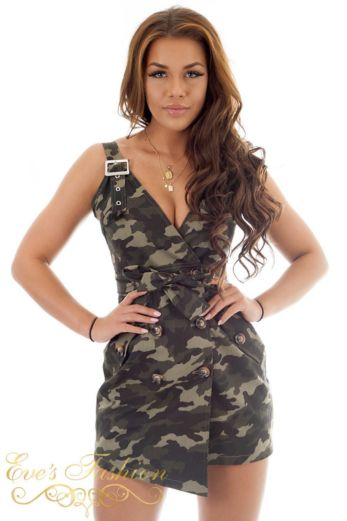 RUNAWAY Dora Dress Camo Front