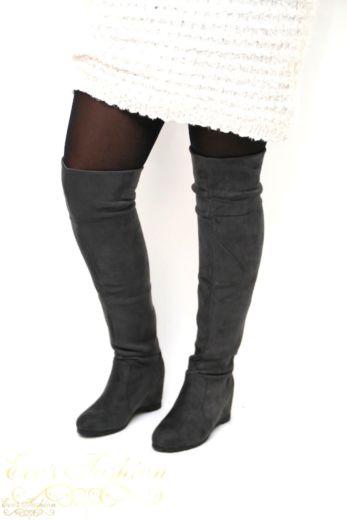 over the knee boots grijs