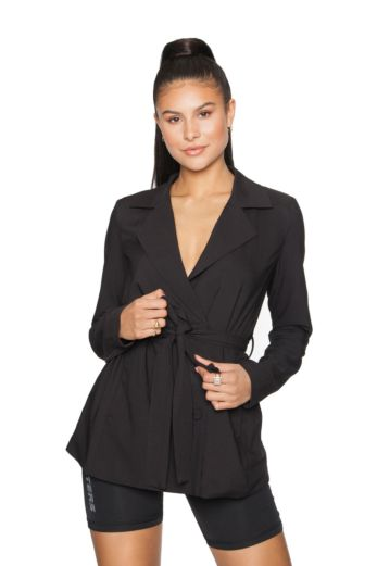 Belted Blazer Jacket Black
