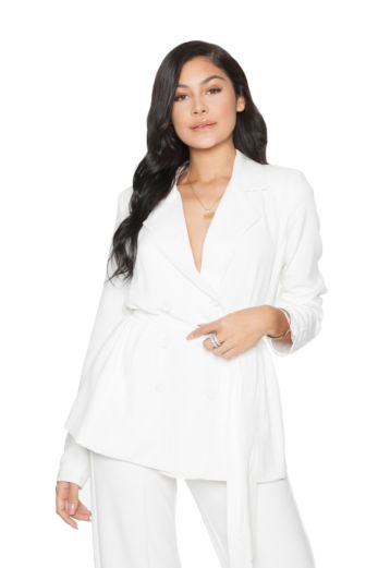 LA Sisters - Belted Blazer Jacket White - Front