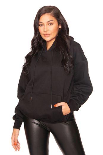 Mini Logo Oversized Hoodie Black