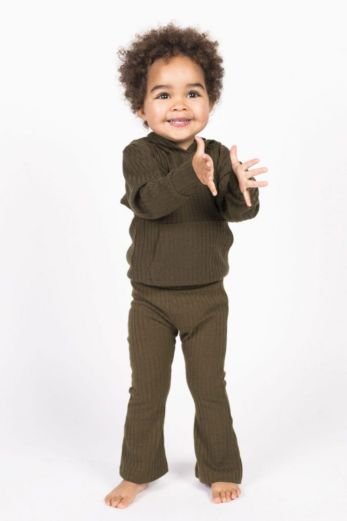 Kids Flare Pants Army Green
