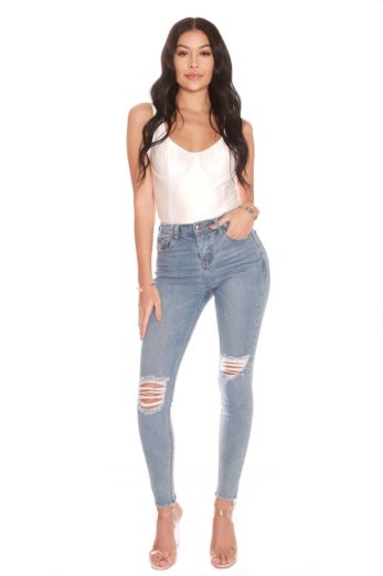 LA Sisters Ripped High Waist Jeans Light Blue