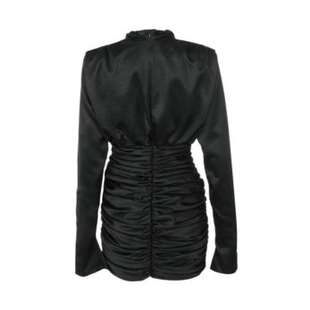 PRE-ORDER Holly Satin High Neck Dress Black